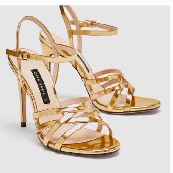 bb864f2b954 Zara gold laminate high heels sandals size 8 NWT